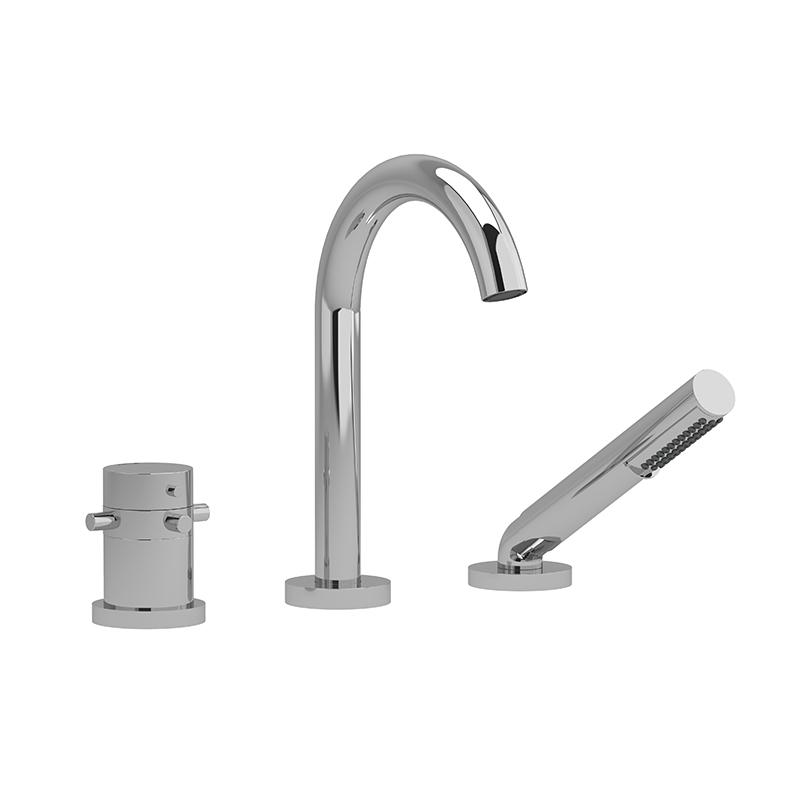 ru19 robinet de bain 3 morceaux coaxial 2 voies type t thermostatique avec douchette. Black Bedroom Furniture Sets. Home Design Ideas